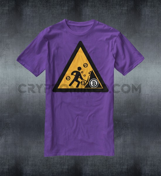 Caution Bitcoin Miner Custom QR Code T-Shirt