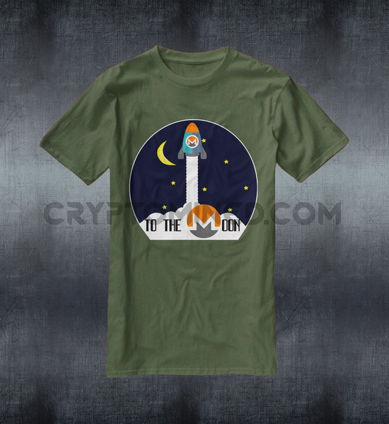 Monero Rocket To The Moon Custom QR Code T-Shirt
