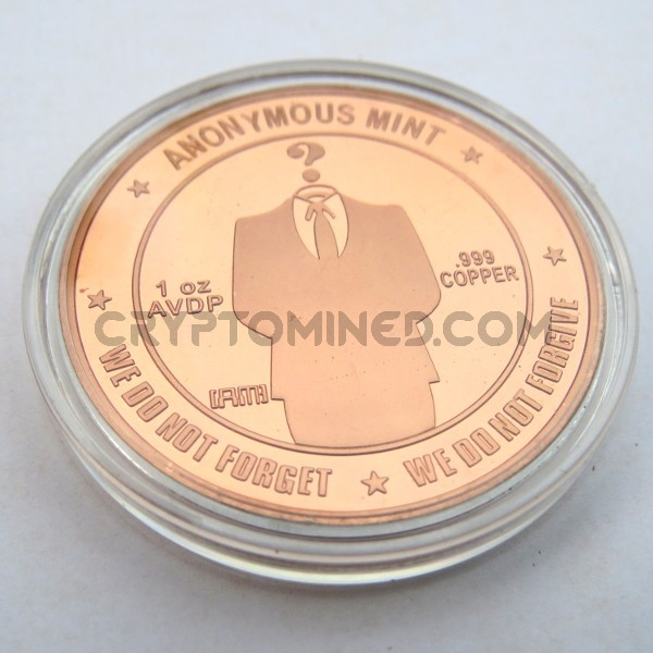 Novelty Copper Anonymous Bitcoin Physical Copper Coin