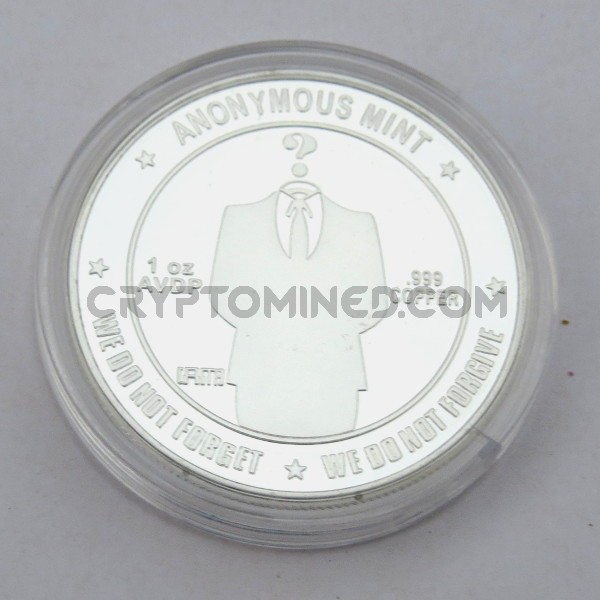 Novelty Silver Anonymous Bitcoin Physical Copper Coin