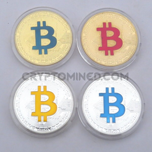 Novelty Set of 4 Colored Bitcoin