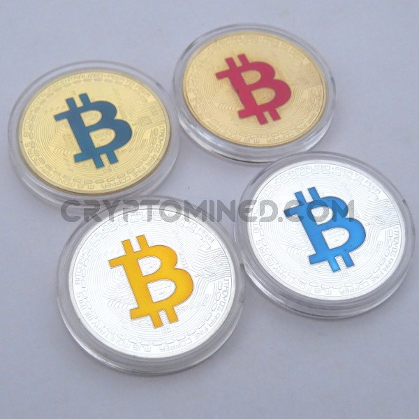 Novelty Set of 4 Colored Bitcoins