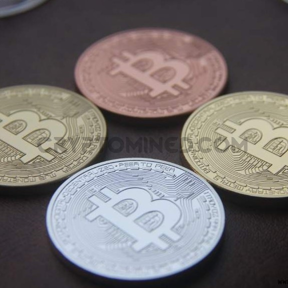 Novelty Set of 4 Bitcoins: Gold, Silver, Copper, & Mixed Metal