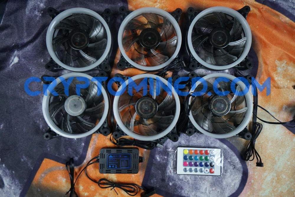 LED RGB Set of 6 Fans with Controller and Remote
