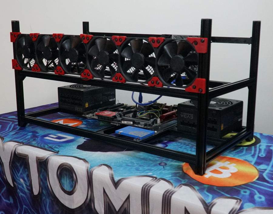 BlackBlitz 8-GPU 6-Fan Stackable Aluminum Rig Frame 76cm Long
