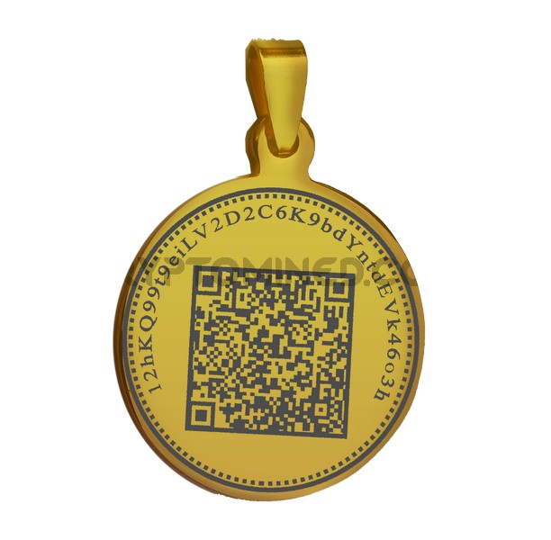 Bitcoin Gold Coin QR Wallet Pendant for Necklace