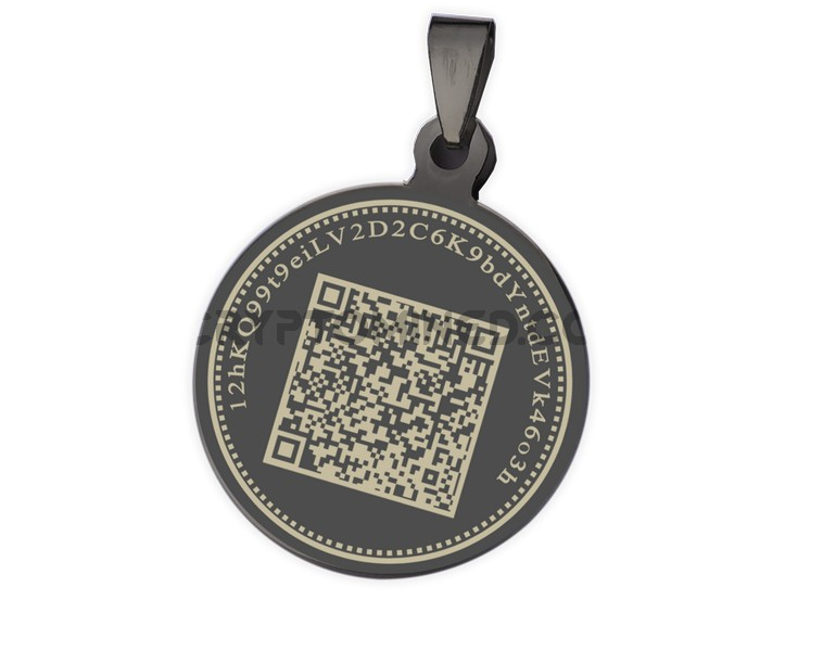 Bitcoin Black Coin QR Wallet Pendant for Necklace
