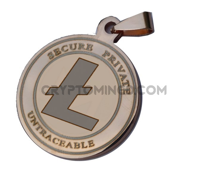 Litecoin Rose Gold Coin QR Wallet Pendant for Necklace
