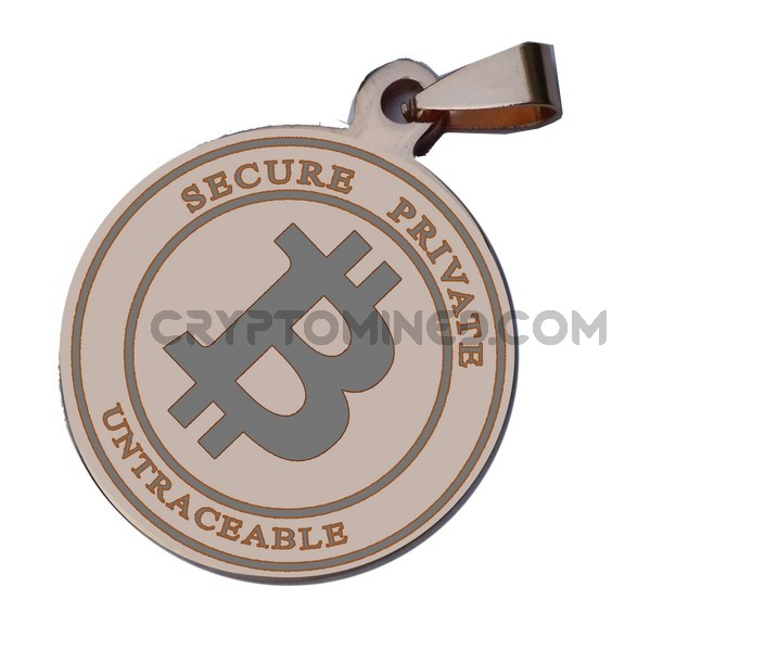 Bitcoin Rose Gold Coin QR Wallet Pendant for Necklace