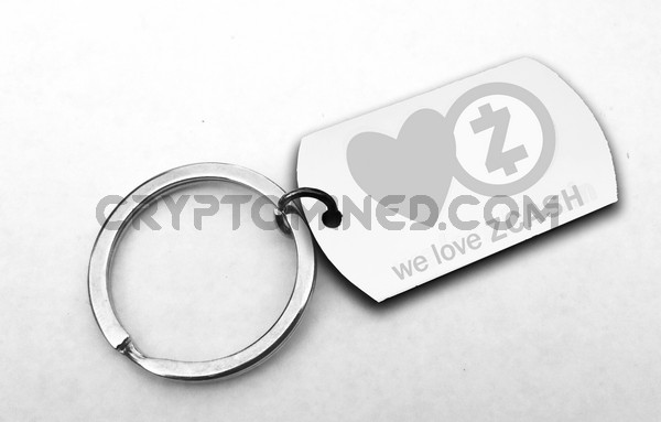 We Love ZCash Dog Tag Custom QR Code Wallet Keychain